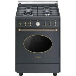 Aragaz SMEG Coloniale CO68GMA8, gaz, 60X60cm, 4 arzatoare, cuptor electric, timer, aprindere electronica, negru antracit