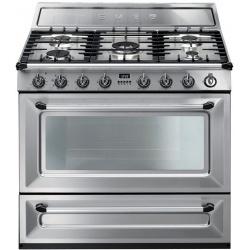 Aragaz SMEG Victoria TR90P1, 90X60cm, 5 arzatoare, cuptor electric, timer, aprindere electronica, crem