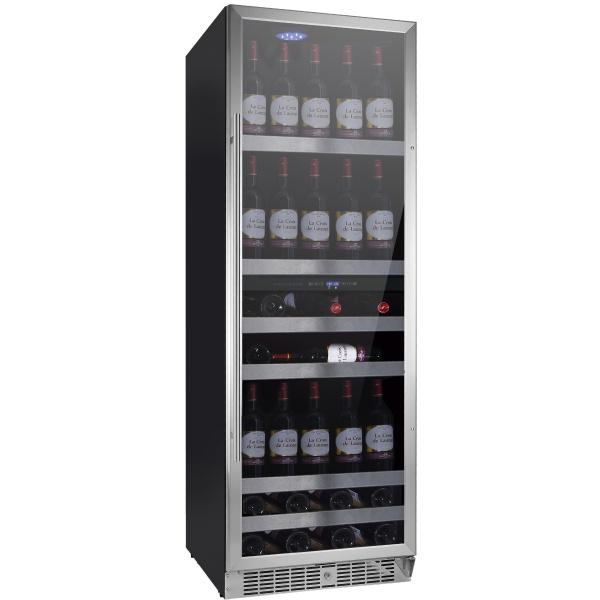 Racitor de vinuri Nevada Concept NW140D-SL, 140 sticle, doua zone, negru/otel inoxidabil