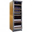 Vitrina de vinuri Nevada Wood NW136D-SSW, 136 sticle, doua zone, lemn artar/otel inoxidabil