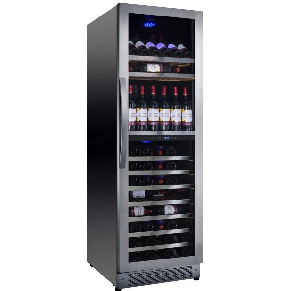 Racitor de vinuri Nevada Concept NW138D-SSL, 138 sticle, doua zone, negru/otel inoxidabil