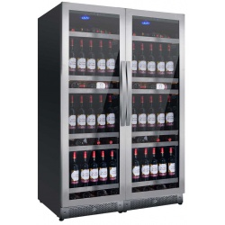 Vitrina de vinuri Nevada Concept NW316D-SSL, 316 sticle, doua zone, negru/inox