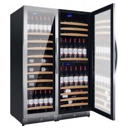 Vitrina de vinuri Nevada Concept NW300T-SS, 300 sticle, 3 zone, negru/inox