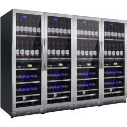 Vitrina de vinuri Nevada Concept NW528Q2-SSL, 528 sticle, 8 zone, negru/inox