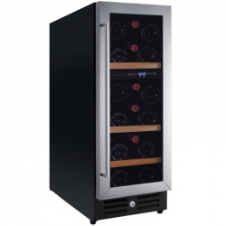 Vitrina de vinuri Nevada Concept NW23D-S, 23 sticle, doua zone, negru/inox