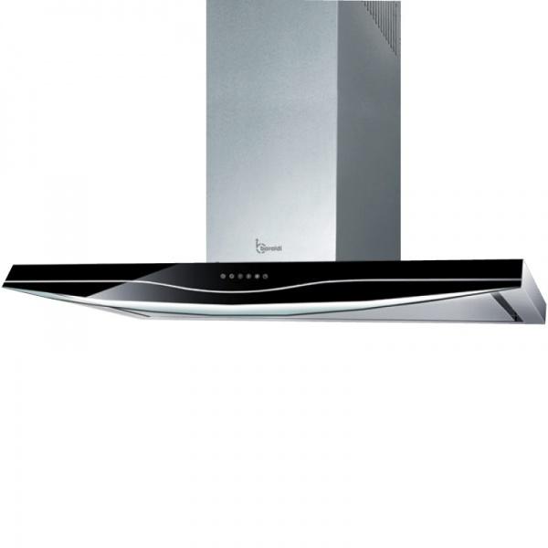Hota design Baraldi Suites 01SUI090STB80, 90 cm, 800 m3/h, sticla neagra/inox