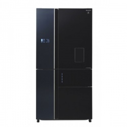 Side by side SHARP SJWX830FBK, 650l, Clasa A++, Plasmacluster,Hybrid Coolinng System, Inverter,dispenser apa, sticla neagra