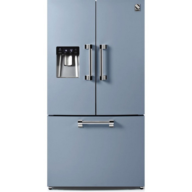 Side by Side Steel Ascot AFR9F , Clasa A+, 536L, No Frost, Dispenser Apa, Twist Ice Maker, visiniu