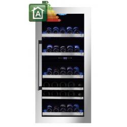 Vitrina de vinuri incorporabila Nevada Concept NW89D-SSL, 89 sticle, doua zone, inox