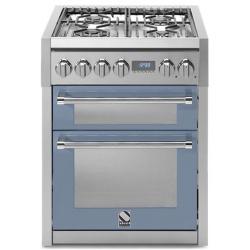 Aragaz Steel Genesi, 70X60cm, 4 arzatoare, cuptor dublu electric multifunctional, timer, aprindere electronica, visiniu