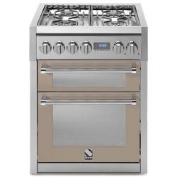 Aragaz Steel Genesi, 70X60cm, 4 arzatoare, cuptor dublu electric multifunctional, timer, aprindere electronica, crem inchis