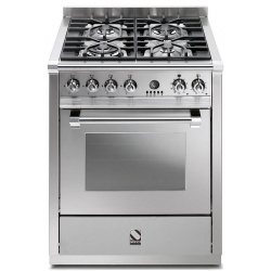 Aragaz Steel Genesi, 70X60cm, 4 arzatoare, cuptor electric multifunctional, timer, aprindere electronica, inox