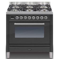 Aragaz ILVE Profesional line P90, 90X60cm, 6 arzatoare, cuptor gaz, timer, aprindere electronica, negru