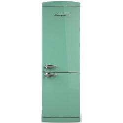 Combina frigorifica Retro Bompani BOCB672/T, Clasa A+, 316 litri, Latime 60 cm, Turcoaz