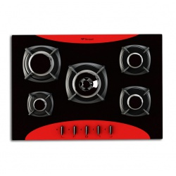 Plita incorporabila Bompani Colorme BO219VC/N, 70 cm, plita gaz, 5 arzatoare,sistem siguranta Stop-Gaz, rosu/negru