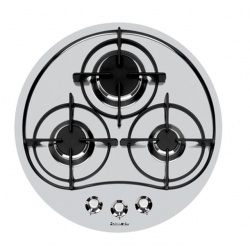 Plita incorporabila Foster Rando 7052022, instalare STD, gaz, Ø 52 cm, 3 arzatoare, aprindere electrica, siguranta gaz, inox