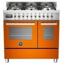 Aragaz Bertazzoni Profesional PRO906MFEDART, 90x60 cm, gaz, 6 arzatoare, 2 cuptoare electrice, portocaliu