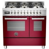 Aragaz Bertazzoni Profesional PRO906MFEDROT, 90x60 cm, gaz, 6 arzatoare, 2 cuptoare electrice, rosu