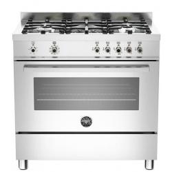 Aragaz Bertazzoni Profesional PRO906MFESXT, 90x60 cm, gaz, 6 arzatoare, cuptor electric, inox