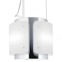 Hota design suspendata Baraldi Dessy 01DESIS040STW80, 40 cm, 800 m3/h, sticla alba/inox