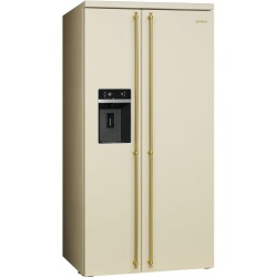 Side by side SMEG COLONIALE SBS8004PO, Clasa A+, 616 litri, Latime 91 cm, total No Frost, crem