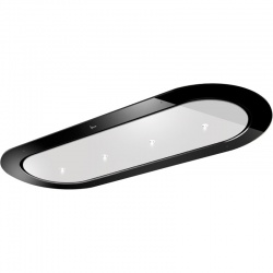 Hota de tavan incorporabila Baraldi Unika 01UNKIS120WH80, 120 cm, 800 m3/h, sticla neagra/alb