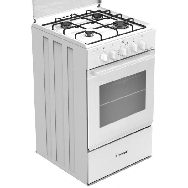 Aragaz Bompani Ecoline BI510EB/N, 50x50 cm, plita gaz, 4 arzatoare, aprindere electronica, grill electric, alb