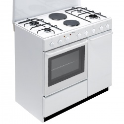 Aragaz Bompani Ecoline BI940EB/L, 90x60 cm, plita mixta gaz+electric, 6 arzatoare, aprindere electronica, grill electric, alb