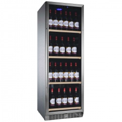 Vitrina de vinuri Nevada Inox NW140S-SX, 140 sticle, doua zone, Inox