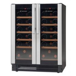 Vitrina de vinuri Tecfrigo Wine 32, 32 sticle, 2 zone temperatura, negru / inox