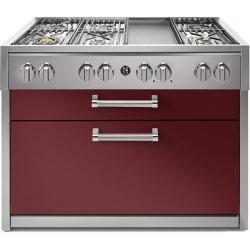 Plita profesionala cu spatii depozitare Steel Genesi G12C 120x65 cm, 6 arzatoare, 2 sertare,aprindere electronica, rosu burgundy