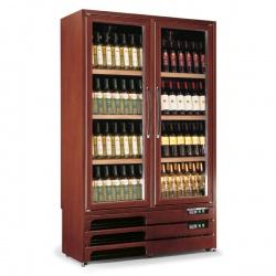 Vitrina de vinuri Tecfrigo Enoprestige 600 2TV, capacitate 600 l, 2 zone temperatura +5+16 / +16+18°C, lemn nuc