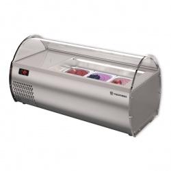 Vitrina frigorifica expunere ingrediente Tecfrigo MICROGEL 3, pentru inghetata, temperatura -15°C /-18° C, argintiu