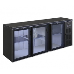Vitrina orizontala frigorifica pentru bauturi Tecfrigo EUROBAR 3P Glass, capacitate 536 l, temperatura +4/+10 C, negru